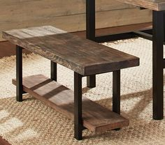 Metal & Reclaimed Wood Bench with Shelf