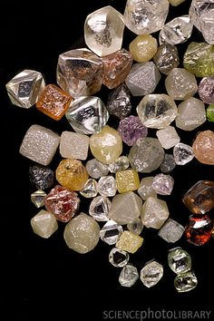 Selection of diamonds. These diamond are from a collection held at the Natural History Museum, London, UK.