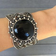 Black Gem Bangle Silver tone metal bangle bracelet.  18k plated base metals.   Lead and nickel free.  🚫Trades ✅Bundle and save T&J Designs Jewelry Bracelets