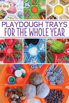 Find LOTS of ideas to put together playdough trays for the whole year. Your kids will love the unique materials in these playdough invitations to play. I love gathering materials to create a… Toddler Play, Toddler Learning, Preschool Learning, Toddler Activities, Day Care Activities, Teaching Kindergarten, Play Based Learning, Learning Through Play, Preschool Centers