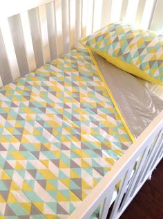 Geometric Baby  Crib Quilt  in grey, yellow and mint....made to order. Only Two left. $120.00, via Etsy.