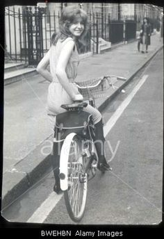 Jane Asher Photo Blog: 4th April 1963Actress Jane Asher Pictured On Her Bicycle Outside Her Home In Wimpole Street London ACTRESSES BICYCLES SIXTIES TEENAGERS.