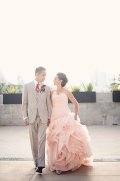 Love this, the pink dress, the grooms grey tux