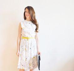 mod twig and leaf print dress