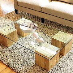 Custom built wood blocks with glass tabletop - amazing contemporary furniture idea
