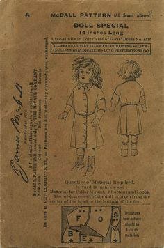 Vintage / Antique Doll Clothes Sewing Pattern | McCall Pattern | Year 190? | Doll size of girls' dress pattern 4816 | Doll size 14""