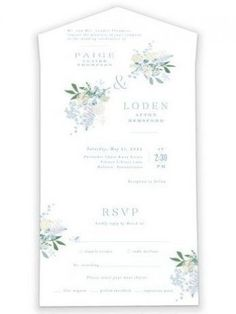 An Airy And Elegant Wedding Invite With Beautiful Floral Accents In Blues And Teals. Blue All-In-One Wedding Invitations From Minted By Independent Artist Jennifer Wick. Bluebell AIO. Wedding Invitations Diy Handmade, Wedding Favor Tags, Elegant Wedding Invitations, Wedding Programs, Reception Card, Photo Layouts, Wedding Website, Invite, Cardiff