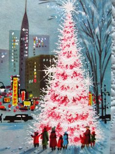 Vintage Christmas Card Unused Mod Family in City Night Pink Glitter Tree   eBay