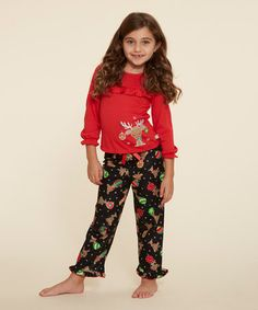 Love this Black & Red Sleep Top Set & Doll Outfit - Girls on #zulily! #zulilyfinds