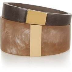 Isabel Marant Set of two resin and gold-plated cuffs ($87) ❤ liked on Polyvore featuring jewelry, bracelets, sand, cuff bangle, gold plated bangles, gold plated jewelry, gold plated jewellery and sand jewelry
