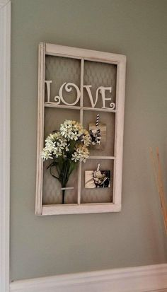 Vintage Farmhouse Decor - Vintage Farmhouse Window photo frame or display with optional chicken wire back. These are Vintage windows from a historic farmhouse in Ellijay Ga. Chic Living Room, Living Room Decor, Living Rooms, Bedroom Decor, Bedroom Wall, Nursery Decor, Window Photo Frame, Window Frame Decor, Rustic Window Frame