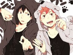 Kageyama and Hinata <3 They look so cute in these jumpers *.*