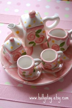 Tiny Tea for Two Doll tea set handpainted and by hollyslay, $38.00
