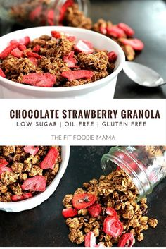 Healthy Chocolate Strawberry Granola Recipe that's gluten free, oil free, vegan, low in sugar and quick & easy to make! Perfect for breakfast or even a light Valentine's Day dessert!