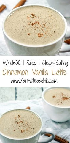 This Paleo & Cinnamon Vanilla Latte is delicious, a cinch to make and requires only five ingredients + a blender! This Paleo & Cinnamon Vanilla Latte is delicious, a cinch to make and requires only five ingredients + a blender! Whole 30 Diet, Paleo Whole 30, Whole 30 Recipes, Whole 30 Meals, Whole 30 Snacks, Yummy Drinks, Healthy Drinks, Healthy Snacks, Yummy Food