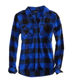 american eagle blue flannel | AEO Factory Girlfriend Flannel | American Eagle Outfitters