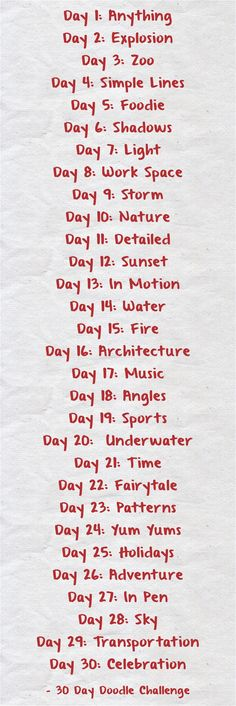 Day 1: Anything Day 2: Explosion Day 3: Zoo Day 4: Simple...