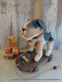 Dog pull toy: vintage style, soft sculpture pull toy by Pennybright Studios