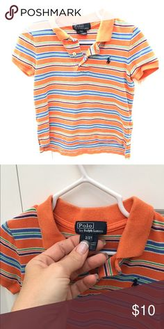 *HOST PICK* Polo Ralph Lauren Striped Polo - sz 2T Orange and blue striped polo shirt.  Worn by both my son and daughter, due to the gender-neutral colors.  EUC! Bundle and save big! No trades! Offers always considered! Questions? Ask away! Polo by Ralph Lauren Shirts & Tops Polos