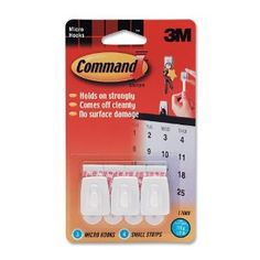 3M 17066 Adhesive Micro Utility Hooks, Plastic, White, 3/Pack by 3M. $4.35. Complete with hooks and adhesive strips, Micro Hooks hold on strong and come off cleanly. Micro hook inflicts no surface damage. Simply stretch to remove. Hook holds 1/2 lb.