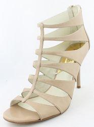 Michael Kors Women's Dark Khaki Mavis Open Toe Leather Heels