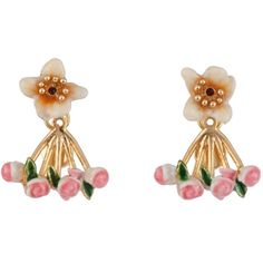 Les Néréides IN THE MOONLIGHT WHITE FLOWER AND PINK ROSES EARRINGS ($119) ❤ liked on Polyvore featuring jewelry, earrings, jewelry earrings, white, eagle earrings, heart earrings, rose jewelry, les nereides earrings and rose earrings