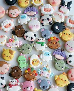 these are macaroons btw ~Macarons stupid. Cute Polymer Clay, Cute Clay, Dessert Kawaii, Cute Food, Yummy Food, Kreative Desserts, Cute Baking, Macaron Cookies, Macaroon Recipes