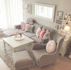 Amazing Grey And Pink Living Room