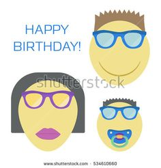 Three smiles for family. Smiley woman in sunglasses with lipstick, man with moustache and baby boy with nipple. Vector illustration.