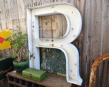 Vintage Wall Letter Marquee Sign, Capital 'R': EXTRA LARGE White Metal Single Hanging Initial -- Neon Channel Industrial Advertising Salvage