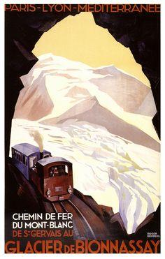 FRANCE - Glacier de Bionnassay. ca. 1930 Chemin De Fer Du Mont Blanc vintage poster (art by Roger Broders). #vintage #travel #Winter