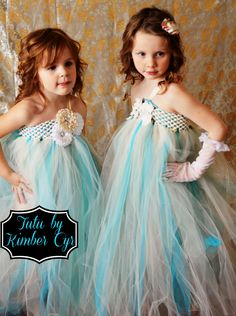 Gloves too much?  Turquoise and Teal Flower girl dress--newborn to preteen. $34.99, via Etsy.