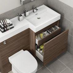 Olympia Walnut Effect Drawer Vanity Unit - Sabrosa Pan Bathroom Sink Units, Bathroom Drawers, Small Bathroom Vanities, Bathroom Layout, Bathroom Interior, Brown Bathroom Furniture, Bathrooms, Small Toilet Design, Small Toilet Room