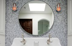 round mirror penny round mosaic tile bathroom bath nautical industrial sconces sink