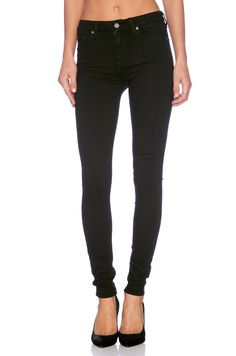 7 For All Mankind The High Waist Skinny in Slim Illusion Luxe Black | REVOLVE