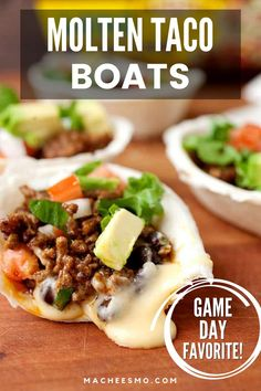 These easy, delicous Mini taco boats with a hidden layer of homemade queso will be your best hit on game day! Topped with any taco fillings you like. Such a fun appetizer! Great for superbowl parties, birthday or Christmas gatherings, you'll how quick and easy these are to make. #appetizer #gameday #gamedayfood #recipe #easyrecipe Easy Appetizer Recipes, Healthy Appetizers, Easy Dinner Recipes, Easy Meals, Holiday Appetizers, Dip Recipes, Delicious Recipes, Snack Recipes, Starter Dishes