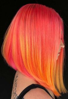 33 Awesome Orange Hair Color Ideas for Sleek Lob Styles 2018. Explore here the brightest orange hair color ideas of to use for short, medium, long and bob haircuts in year 2018. Have you ever tried the amazing ideas of bob cuts with orange and red hair colors highlights? If not then must see here the cutest styles of orange sleek bob haircuts and hairstyles to try in 2018.