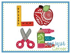 LOVE School Supplies Block Applique Design
