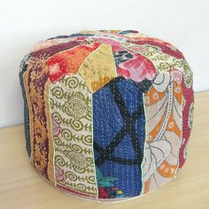 Small Bohemian Pouf Ottoman Patchwork Footstool Kantha Indian pouf Cover Throw #Unbranded #Ethnic
