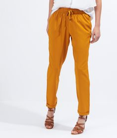 Pantalon fluide style jogging - DOMINGA - CURRY - Etam