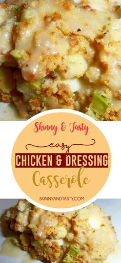 Chicken and Dressing Recipe, is a very good casserole! It makes a wonderful warming and filling meal. Turkey Recipes, New Recipes, Chicken Recipes, Cooking Recipes, Favorite Recipes, Recipies, Celery Recipes, Vegan Recipes, Dinner Recipes