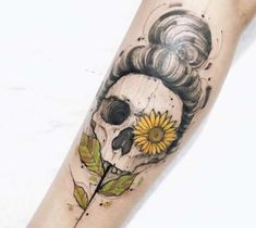 Incredible 3 colors abstract tattoo style of Skull and Sunflower motive done by artist Felipe Mello