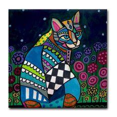 Cat Gifts  Ceramic Tile Coasters Cat Folk Art by HeatherGallerArt, $20.00