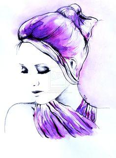 Rough day portrait in watercolor by Missmoonlightje.deviantart.com