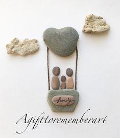 """Family balloon"" #agifttorememberart #pebbleart #hotairballoon #love #family #etsy #etsyseller #australia #roomdecor #frame #cloud #nature #craft #handmade #art #instaphoto #instaart #sky #babyshower #giftideas #newbaby #recycledart #stones #beach #makersgonnamake #madebyme"