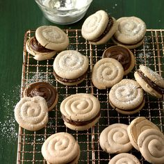 Mocha Meringue Sandwich Cookies Recipe -These crisp, chewy cookies inspired by the famous Concord cake can be made any size you choose. They're also great with a variety of fillings—try making them with fruit preserves. Baked Meringue, Meringue Cookies, Sugar Cookies, Meringue Pie, Fruit Preserves, Cinnamon Chips, Light Desserts, Cupcakes, Spice Cookies