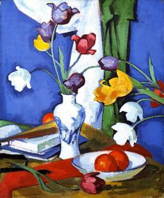 The Athenaeum - Tulips and Fruit (Samuel John Peploe - ) Still life painted in 1919 using oil on canvas.