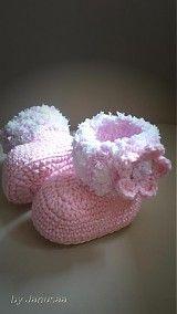 Topánočky - Háčkované čižmičky - sladké s kvetom - 3086129