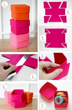 tutorial simple origami box, how to make a box of storage, for your roulea . - tutorial simple origami box, how to make a box of storage, for your roulea . Felt Diy, Felt Crafts, Diy And Crafts, Crafts For Kids, Paper Crafts, Diy Gift Box, Diy Box, Diy Gifts, Felt Christmas