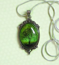 morgondagg:  Emerald Bewitched — Wearable Art Cameo Necklace